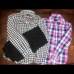 2 long sleeve button up shirts & 1 black pant